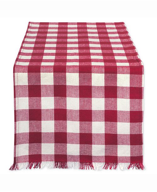 """Design Import Wine Heavyweight Check Fringed Table Runner 14"""" X 72"""""""