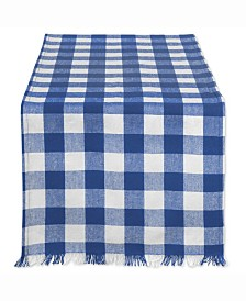 "Navy Heavyweight Check Fringed Table Runner 14"" X 108"""