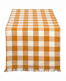 "Pumpkin Spice Heavyweight Check Fringed Table Runner 14"" X 108"""