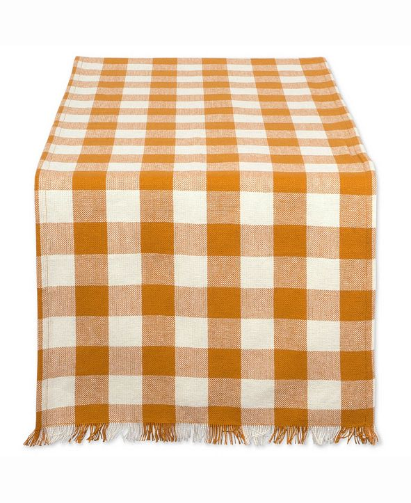 "Design Imports Pumpkin Spice Heavyweight Check Fringed Table Runner 14"" X 108"""