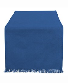 "Solid Navy Heavyweight Fringed Table Runner 14"" X 108"""