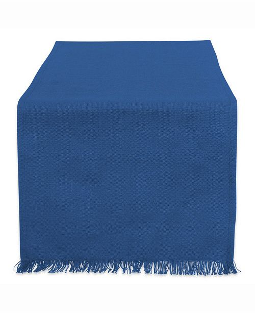 "Design Import Solid Navy Heavyweight Fringed Table Runner 14"" X 108"""