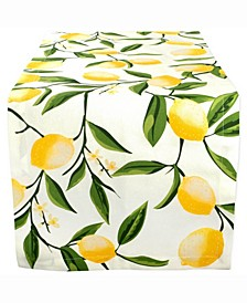 "Lemon Bliss Print Table Runner 14"" X 108"""