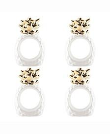 Gold Pineapple Napkin Ring Set of 4