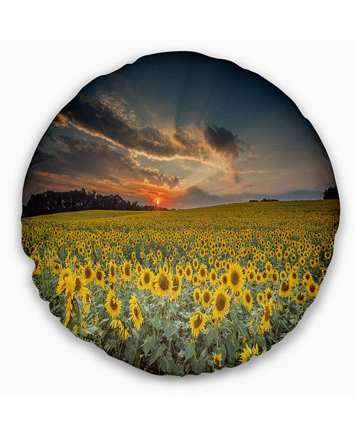 "Design Art Designart 'Sunflower Sunset With Cloudy Sky' Landscape Printed Throw Pillow - 16"" Round"