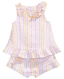 First Impressions Baby Girls Striped Seersucker Ruffle Top & Shorts, Created for Macy's