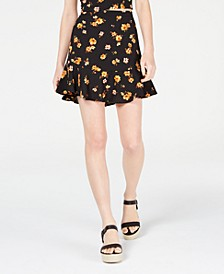 Juniors' Printed Ruffle-Hem Skirt