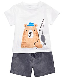First Impressions Toddler Boys Cotton Graphic-Print T-Shirt & Chambray Shorts, Created for Macy's