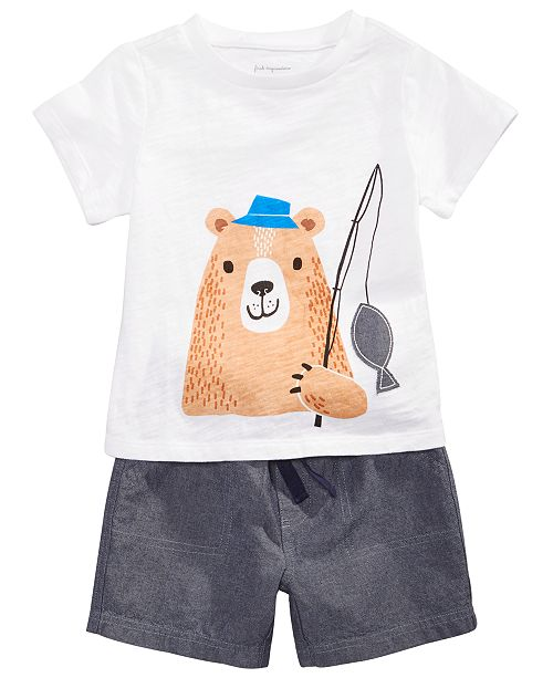 First Impressions Baby Boys Cotton Graphic-Print T-Shirt & Chambray Shorts, Created for Macy's