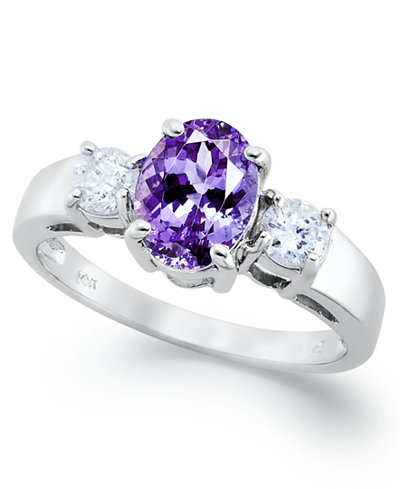 14k White Gold Ring, Tanzanite (1-3/8 ct. t.w.) and Diamond (3/8 ct. t.w.) Oval Ring