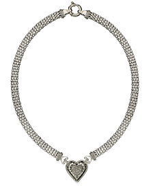 Diamond Mesh Heart Necklace in Sterling Silver (1/4 ct. t.w.)