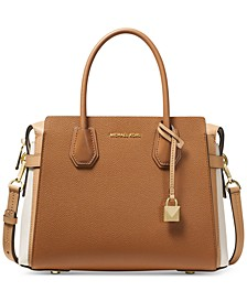 Mercer Belted Tricolor Pebble Leather Satchel
