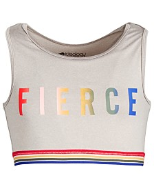 Ideology Big Girls Cropped Racerback Sports Top, Created for Macy's