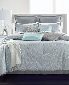 Martha Stewart Collection Paisley Plume Blue 14-Pc. Comforter Sets, Created for Macy's