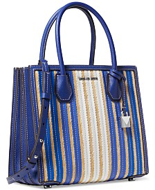 MICHAEL Michael Kors Mercer Accordion Leather & Straw Tote