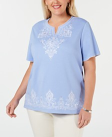 Alfred Dunner Plus Size The Summer Wind Embroidered Top