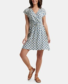 Lucky Brand Printed Drawstring Mini Dress
