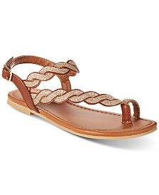 Rampage Little & Big Girls Cognac & Gold Braided Sandals