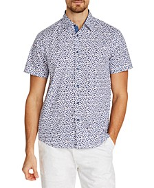 Men's Slim-Fit Stretch Leaf Short Sleeve Shirt