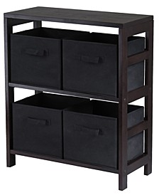 Capri 2-Section M Storage Shelf with 4 Foldable Fabric Baskets