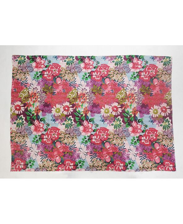 LR Resources Inc. Floral Garden Kantha Throw Blanket