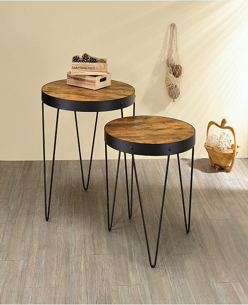 Coaster Home Furnishings Houston 2-Piece Nesting Table Set with Hairpin Legs