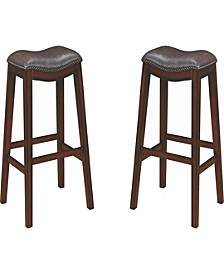 Boris Upholstered Backless Bar Stools with Nailhead Trim Two-Tone (Set of 2)