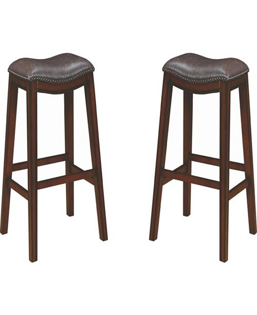 Super Boris Upholstered Backless Bar Stools With Nailhead Trim Two Tone Set Of 2 Cjindustries Chair Design For Home Cjindustriesco