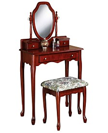 Adam 2-Piece Vanity Set with Tapestry Fabric Seat