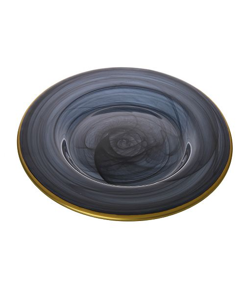Classic Touch Black Alabaster Salad Plates with Gold-Scalloped