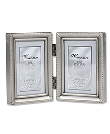 "Antique Pewter Hinged Double Picture Frame - Beaded Edge Design - 2"" x 3"""