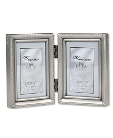 """Lawrence Frames Antique Pewter Hinged Double Picture Frame - Beaded Edge Design - 2"""" x 3"""""""