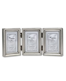 "Antique Pewter Hinged Triple Picture Frame - Beaded Edge Design - 2"" x 3"""