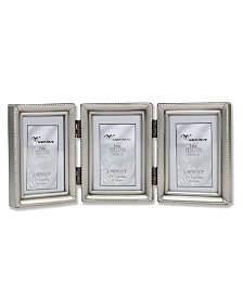 """Lawrence Frames Antique Pewter Hinged Triple Picture Frame - Beaded Edge Design - 2"""" x 3"""""""
