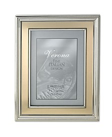"""Silver Plated Metal Picture Frame - Brushed Gold Inner Panel - 5"""" x 7"""""""