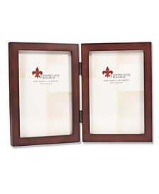 "755946D Espresso Wood Hinged Double Picture Frame - 4"" x 6"""