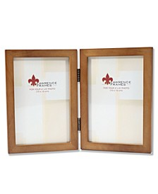 "766046D Nutmeg Wood Hinged Double Picture Frame - 4"" x 6"""