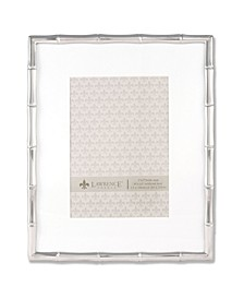 """710180 Silver Metal Bamboo 8x10 Matted For Picture Frame - 5"""" x 7"""""""