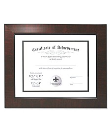 "Dual Use Mahogany Faux Burl 11"" x 14"" Certificate Picture Frame with Double Bevel Cut Matting For Document - 8.5"" x 11"""