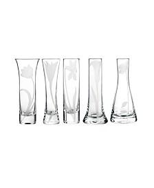 Bouquet Glass Budvases, Set Of 5