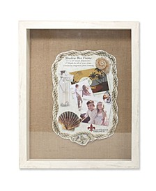 "Ivory Front Hinged Shadow Box Frame - Burlap Display Board - 11"" x 14"""