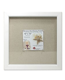 "Lawrence Frames White Shadow Box Frame - Linen Inner Display Board - 12"" x 12"""