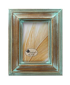 "Weathered Wood with Verdigris Wash Picture Frame - 4"" x 6"""
