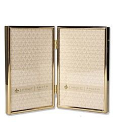 "Hinged Double Simply Gold Metal Picture Frame - 4"" x 6"""
