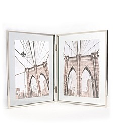 "Hinged Double Harland Silver Metal Float Frame - 5"" x 7"""