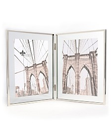 """Lawrence Frames Hinged Double Harland Silver Metal Float Frame - 5"""" x 7"""""""