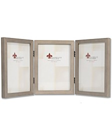 "Hinged Triple Gray Wood Picture Frame - Gallery Collection - 5"" x 7"""