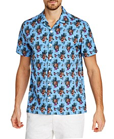 Men's Slim-Fit Performance Stretch Pineapple Short Sleeve Camp Shirt