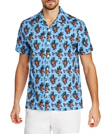 Tallia Men's Slim-Fit Performance Stretch Pineapple Short Sleeve Camp Shirt