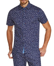 Tallia Men's Slim-Fit Stretch Dot Short Sleeve Shirt